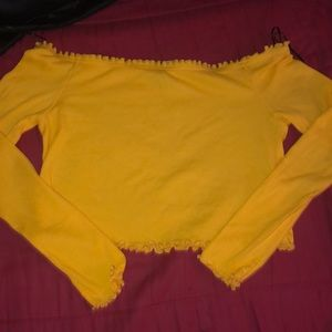 Yellow long sleeve crop top